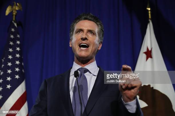 Democratic California gubernatorial candidate Lt. Gov. Gavin Newsom speaks during his primary election night gathering on June 5, 2018 in San...