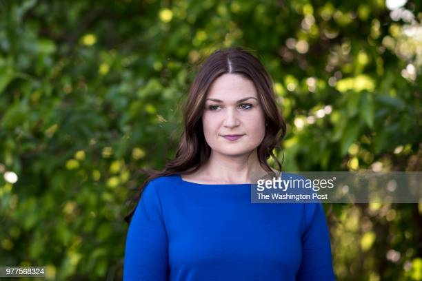 Democratic candidate Abby Finkenauer stands for a portrait on her parent's property in Dubuque Iowa Monday June 4 2018
