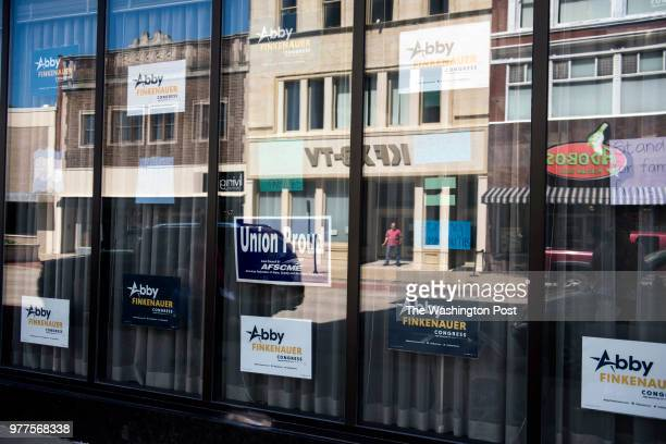 Democratic candidate Abby Finkenauer's campaign office in Dubuque Iowa Monday June 4 2018