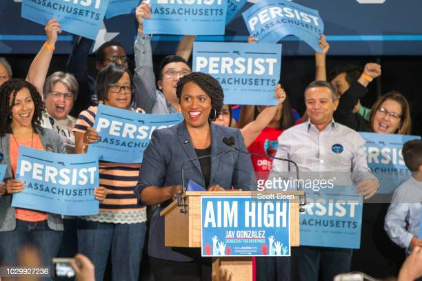 Democratic candidate Ayanna Pressley speaks at a rally attended by US Sen Elizabeth Warren and Democratic gubernatorial candidate Jay Gonzalez on...