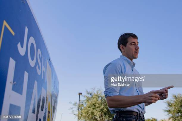 Democratic candidate for California's 10th Congressional District Josh Harder speaks with supporters during a 'Get Out the Vote' campaign event on...