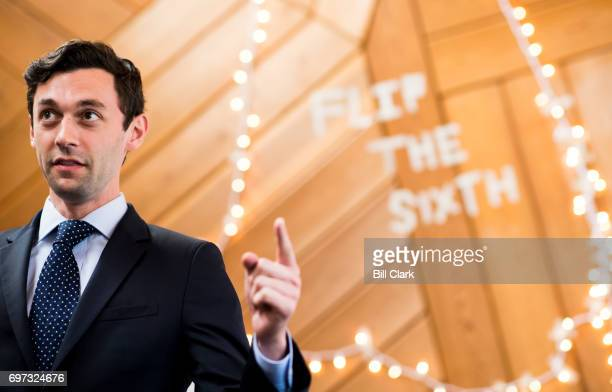 Democratic candidate for Georgia's 6th Congressional district Jon Ossoff speaks at his 'Father's Day Canvass Launch' at the Ossoff campaign office in...
