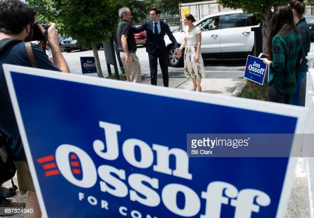 Democratic candidate for Georgia's 6th Congressional district Jon Ossoff center arrives with his father Richard Ossoff and his fiancee Alisha Kramer...