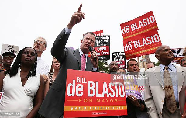Democratic candidate for Mayor and Public Advocate Bill de Blasio speaks with wife Chirlane McCray actress Cynthia Nixon actor singer and supporter...