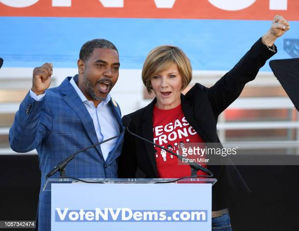 Democratic candidate for Nevada's 4th House District Steven Horsford and Democratic candidate for Nevada's 3rd House District Susie Lee gesture after...
