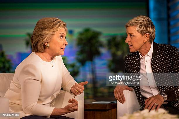 Democratic Candidate for President former Secretary of State Hillary Clinton talks to and relaxes with comedian Ellen DeGeneres between segments...