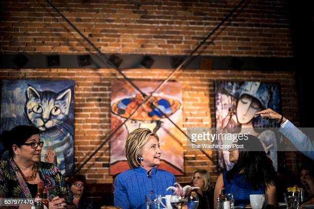 ANA CA Democratic Candidate for President former Secretary of State Hillary Clinton meets with California community leaders at Crave Restaurant in...