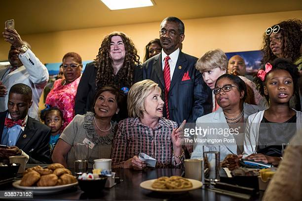 VALLEJO CA Democratic Candidate for President former Secretary of State Hillary Clinton speaks to Vallejo community leaders at the Good News Cafe in...