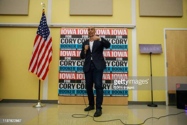 Democratic candidate for President of the United States Cory Booker seen campaigning during the Iowa Democratic Party Black Caucus at the town hall...