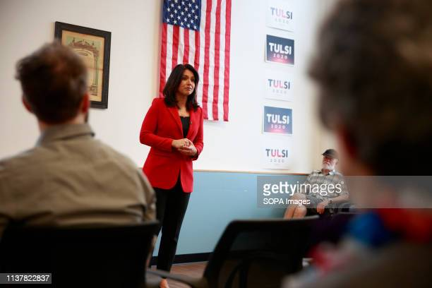 Democratic candidate for President of the United States Tulsi Gabbard of Hawaii seen speaking to the veterans during the campaign rally More than a...