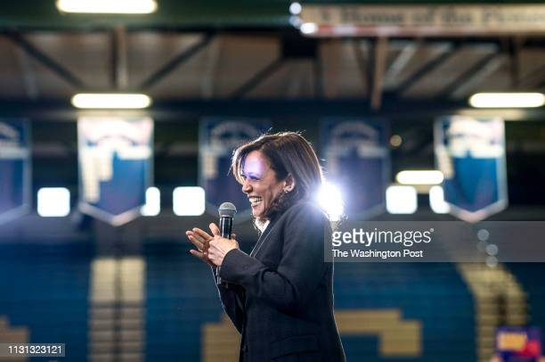 Democratic Candidate for President Senator Kamala Harris answers voters questions during a town hall style event in a gymnasium at Canyon Springs...