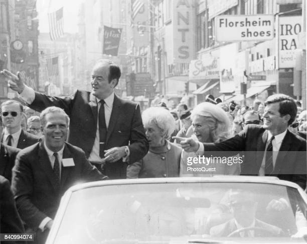 Democratic candidate for President US Vice President Hubert Humphrey campaigns with Massachusetts Senator Edward Kennedy Boston Massachusetts...