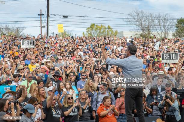 Democratic candidate for the US Senate Beto ORourke addresses his last public event before election night at the Pan American Neighborhood Park on...