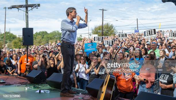 Democratic candidate for the US Senate Beto ORourke addresses his last public event in Austin before election night at the Pan American Neighborhood...