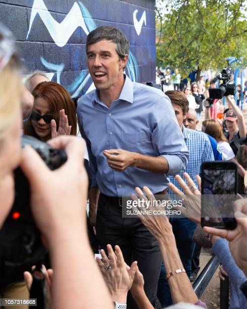Democratic candidate for the US Senate Beto ORourke arrives for his last public event before election night at the Pan American Neighborhood Park on...