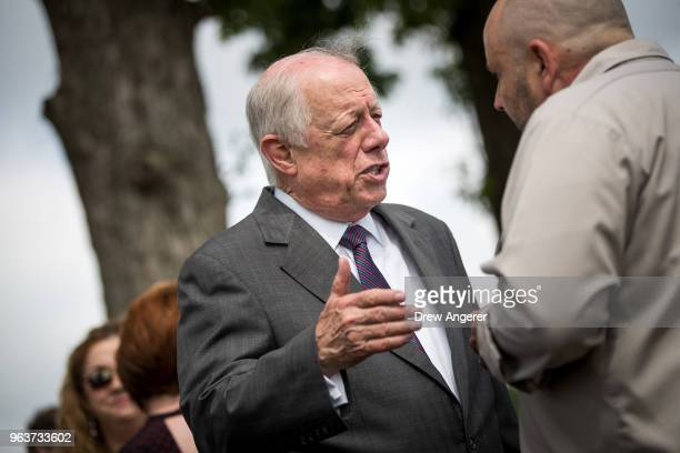 Democratic candidate for US Senate and former governor of Tennessee Phil Bredesen speaks with guests at a groundbreaking event for a new Tyson Foods...