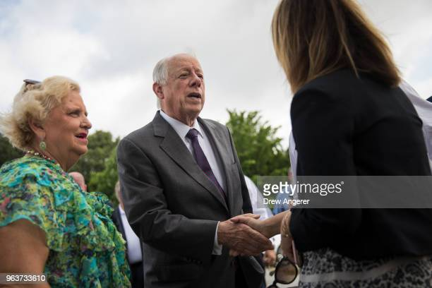 Democratic candidate for US Senate and former governor of Tennessee Phil Bredesen greets guests at a groundbreaking event for a new Tyson Foods...