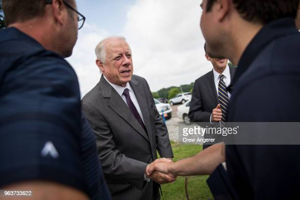 Democratic candidate for US Senate and former governor of Tennessee Phil Bredesen greets Tyson Foods employees at a groundbreaking event for a new...