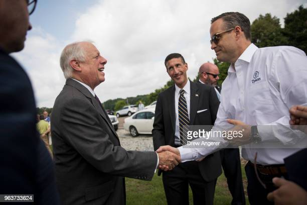 Democratic candidate for US Senate and former governor of Tennessee Phil Bredesen greets Tyson Foods CEO Tom Hayes at a groundbreaking event for a...