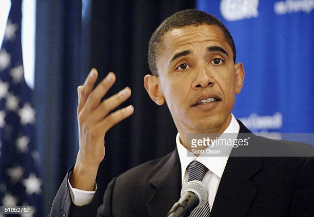 Democratic candidate for U.S. Senate, Barack Obama, gestures as he speaks to members of the Chicago Council on Foreign Relations July 12, 2004 in...
