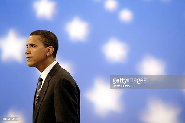 Democratic candidate for U.S. Senate from Illinois Barack Obama prepares to debate his Republican rival Alan Keyes October 21, 2004 in Chicago,...