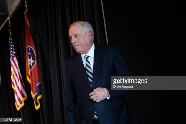 S Democratic candidate for US Senate Phil Bredesen exits the stage after speaking during an interfaith lunch at the Bessie Smith Cultural Center...