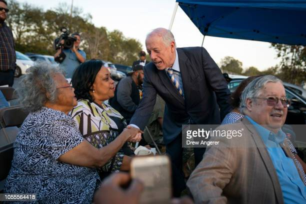 Democratic candidate for US Senate Phil Bredesen greets supporters during an early vote rally and fish fry outside the Bordeaux Branch of the...