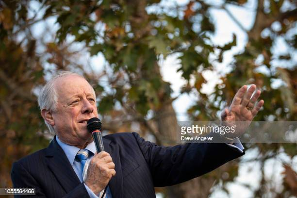 Democratic candidate for US Senate Phil Bredesen speaks during an early vote rally and fish fry outside the Bordeaux Branch of the Nashville Public...