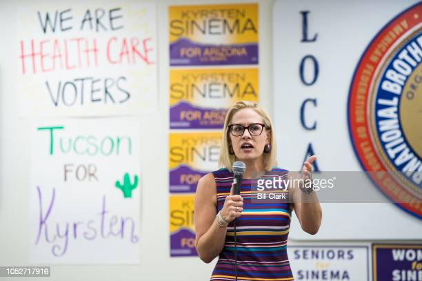 Democratic candidate for US Senate Rep Kyrsten Sinema DAriz speaks to supporters at the International Brotherhood of Electrical Workers Local 570 in...