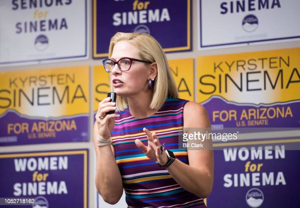 Democratic candidate for US Senate Rep Kyrsten Sinema DAriz speaks to supporters at the United Food and Commercial Workers union in Phoenix Ariz on...