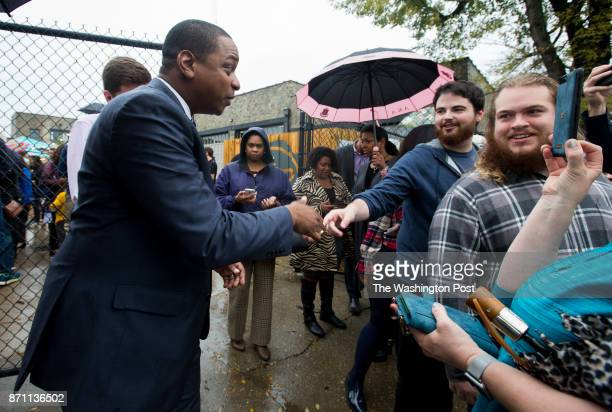 Democratic candidate for Virginia Lieutenant Governor Justin Fairfax greets the crowd after a campaign event Sunday October 29 2017 at Blue Bee Cider...