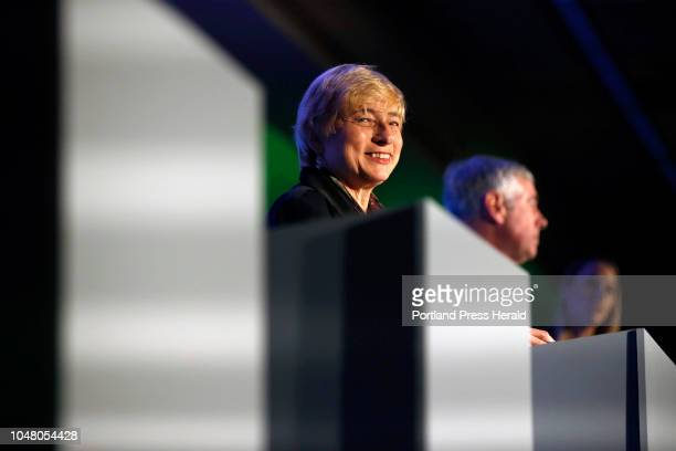 Democratic candidate Janet Mills smiles during a gubernatorial debate on Wednesday at the Portland Regional Chamber of Commerce's monthly Eggs Issues...