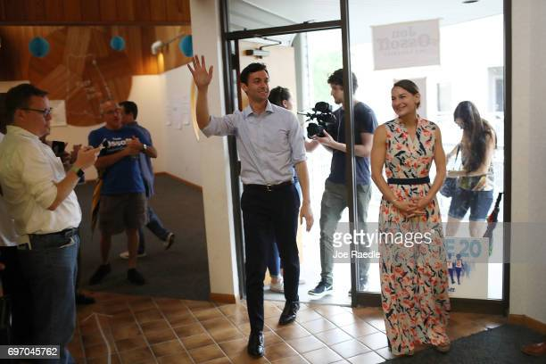 Democratic candidate Jon Ossoff and his girlfriend Alisha Kramer arrive at his Sandy Springs Field Office to thank volunteers as he runs for...