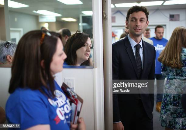 Democratic candidate Jon Ossoff greets supporters at a campaign office as he runs for Georgia's 6th Congressional District in a special election to...