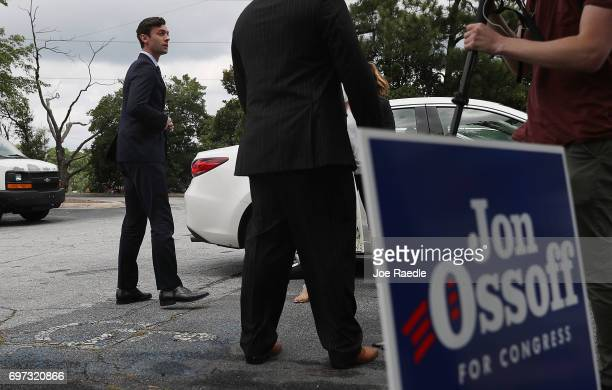 Democratic candidate Jon Ossoff prepares to speak to the media as he runs for Georgia's 6th Congressional District on June 18 2017 in Sandy Springs...