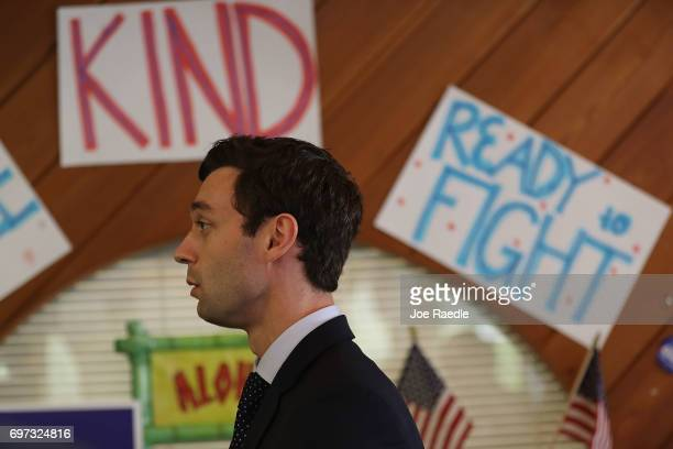 Democratic candidate Jon Ossoff speaks to the media as he runs for Georgia's 6th Congressional District on June 18 2017 in Sandy Springs Georgia...