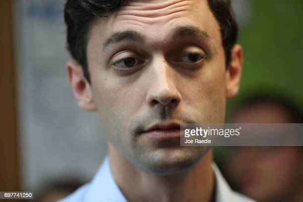 Democratic candidate Jon Ossoff speaks to the media as he visits a campaign office to thank volunteers and supporters as he runs for Georgia's 6th...