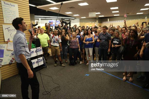 Democratic candidate Jon Ossoff speaks to volunteers and supporters on the last night before election day as he runs for Georgia's 6th Congressional...