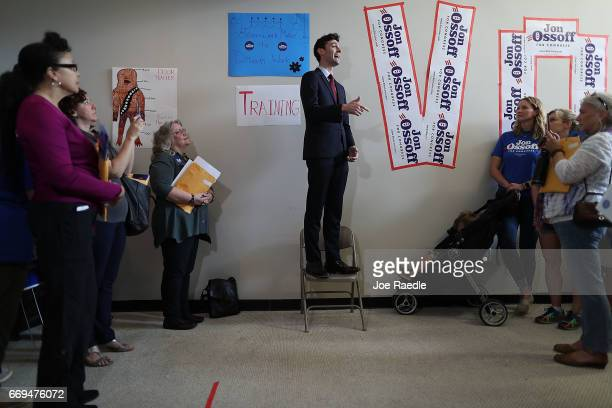 Democratic candidate Jon Ossoff speaks to volunteers at a campaign office as he runs for Georgia's 6th Congressional District in a special election...