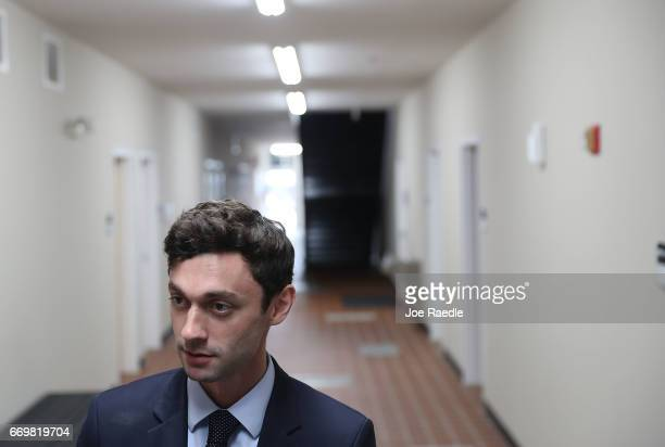Democratic candidate Jon Ossoff speaks with the media at a campaign office as he runs for Georgia's 6th Congressional District on April 18 2017 in...