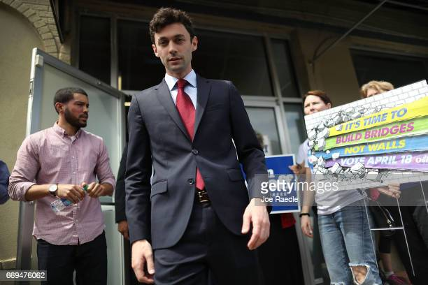 Democratic candidate Jon Ossoff visits a campaign office as he runs for Georgia's 6th Congressional District in a special election to replace Tom...