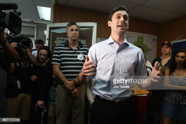 Democratic candidate Jon Ossoff visits a campaign office to thank volunteers and supporters as he runs for Georgia's 6th Congressional District on...