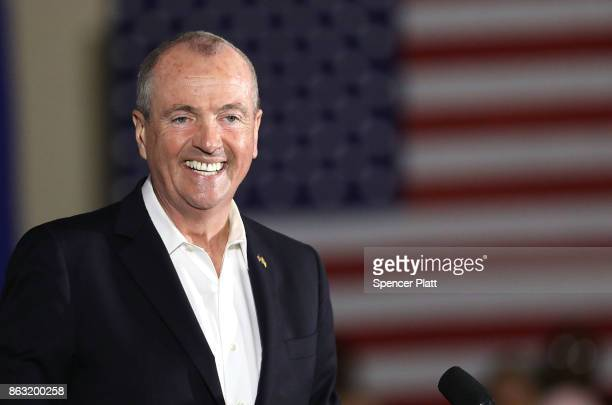 Democratic candidate Phil Murphy, who is running against Republican Lt. Gov. Kim Guadagno for the governor of New Jersey , speaks at a rally on...