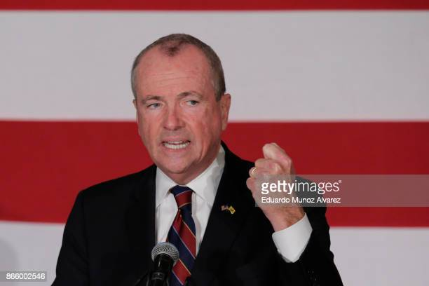 Democratic candidate Phil Murphy, who is running for the governor of New Jersey speaks to attendees during a rally on October 24, 2017 in Paramus,...