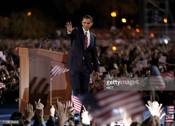 Democratic candidate Sen Barack Obama waves to supporters at his Election Night Rally in Grant Park Chicago Illinois November 4 2008