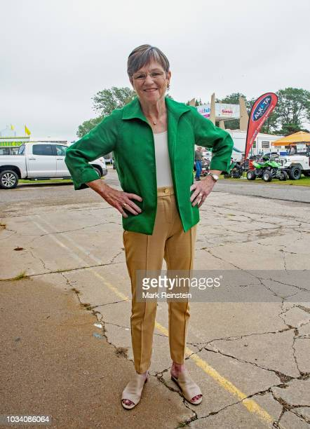 Democratic candidate state senator Laura Kelly pauses backstage prior to the start of the Kansas gubernatorial candidates debate in Hutchinson Kansas...