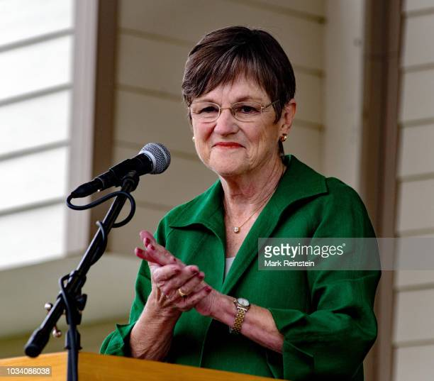 Democratic candidate state senator Laura Kelly responds to questions on stage during the Gubernatorial debate at the Kansas State Fair in Hutchinson...