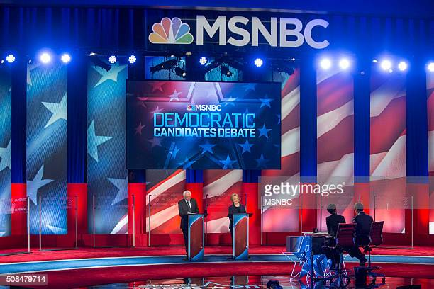 Vermont Sen Bernie Sanders and Fmr Secretary of State Hillary Clinton appear during the MSNBC Democratic Candidates Debate on Thursday February 4...