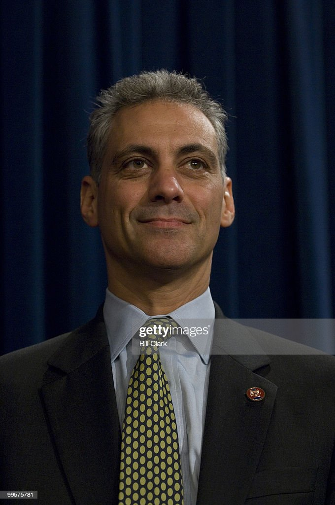 Democratic Caucus chair Rep. Rahm Emanuel, D-Ill., participates in the news conference on military pay on Tuesday, May 22, 2007, in the Senate Radio/TV Gallery studio.