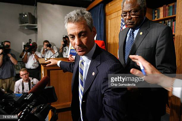 Democratic Caucus Chairman Rahm Emanuel and Majority Whip James E Clyburn leave after a news conference with members of the Democratic leadership to...